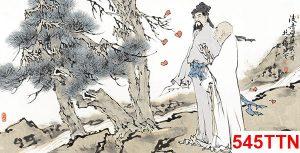 Tranh thủy mặc nhà thơ bên cây tùng