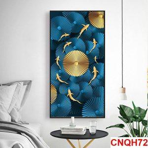 tranh đàn cá chép vàng nghệ thuật