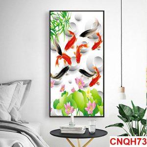 Tranh hiện đại đàn cá chép và hoa sen