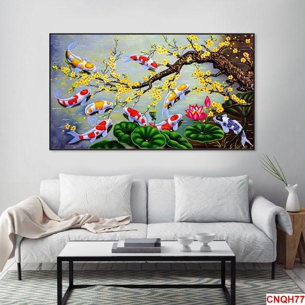 Tranh cá chép và hoa mai