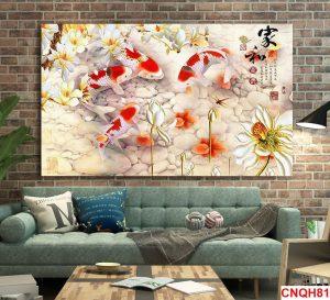 Tranh 4 cá chép hoa sen và hoa lan