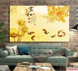 Tranh vàng kim cá chép hoa sen và hoa mẫu đơn