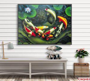 Tranh đàn cá chép và hoa sen