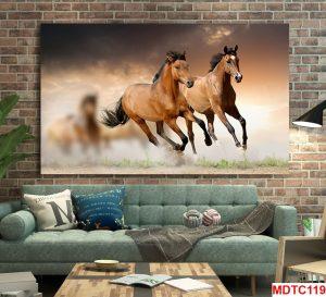 Tranh 2 ngựa phi nước đại