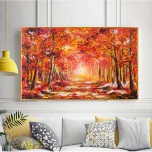 Tranh sơn dầu rừng cây lá phong đỏ lá CV01A482