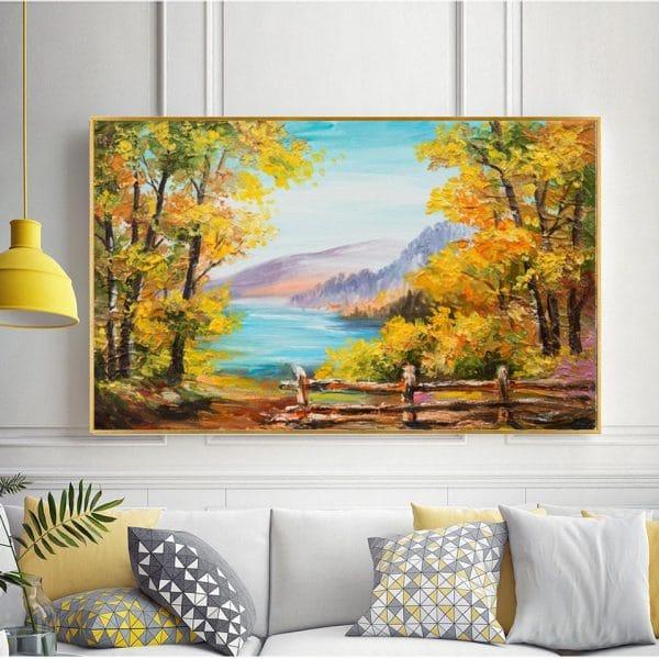 Bức tranh sơn dầu rừng cây bên bờ biển CV01A483