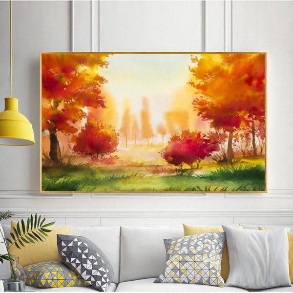 Tranh màu nước rừng cây mùa thu CV01A485