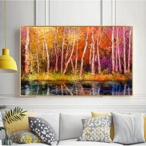 Tranh sơn dầu rừng cây bên hồ CV01A486