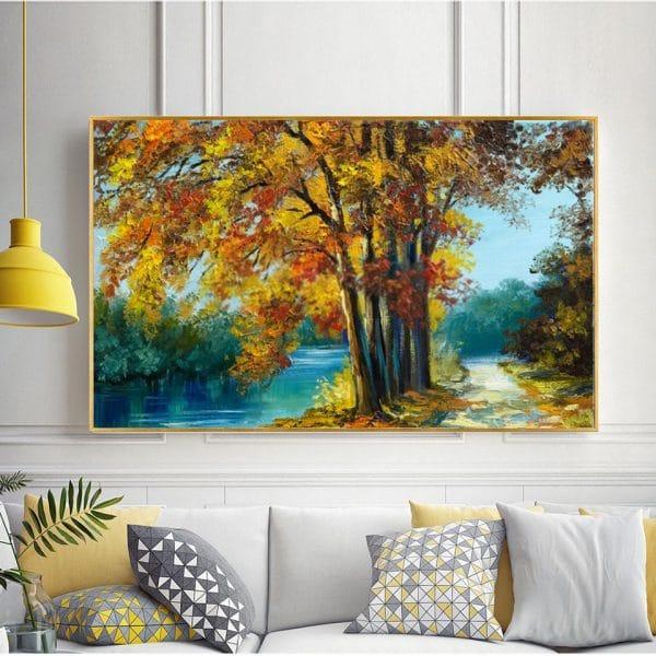 Bức tranh sơn dầu con đường hàng cây bên hồ CV01A488