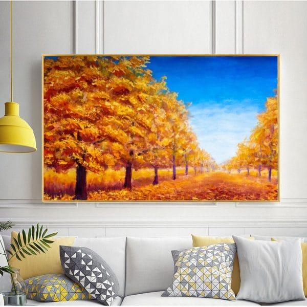 Bức tranh sơn dầu hàng cây mùa thu lá vàng CV01A489