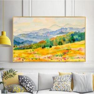 Tranh vẽ màu nước núi đồi rừng cây vàng CV01A490