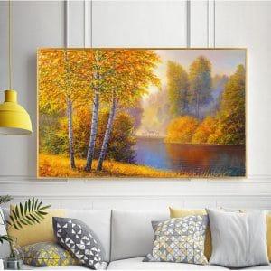 Tranh sơn dầu từng cây bên hồ CV01A492