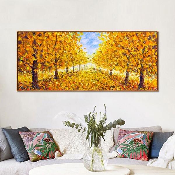 Tranh sơn dầu hàng cây lá vàng CV01A493