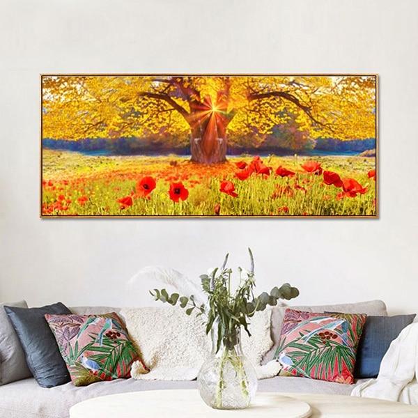 Bức tranh sơn dầu cây cổ thụ và cánh đồng hoa CV01A494