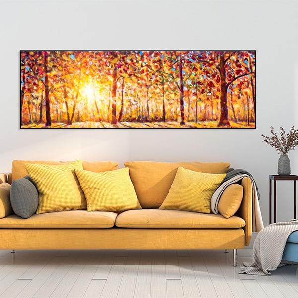 Tranh sơn dầu rừng cây mùa thu nắng vàng CV01A496