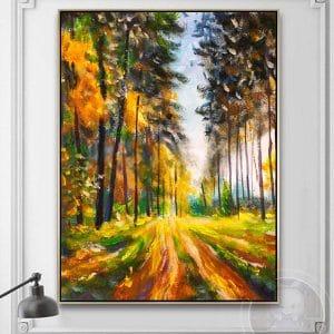 Tranh sơn dầu phong cảnh rừng cây CV01A498