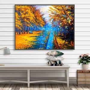 Bức tranh sơn dầu rừng cây vàng xanh nổi bật CV01A499