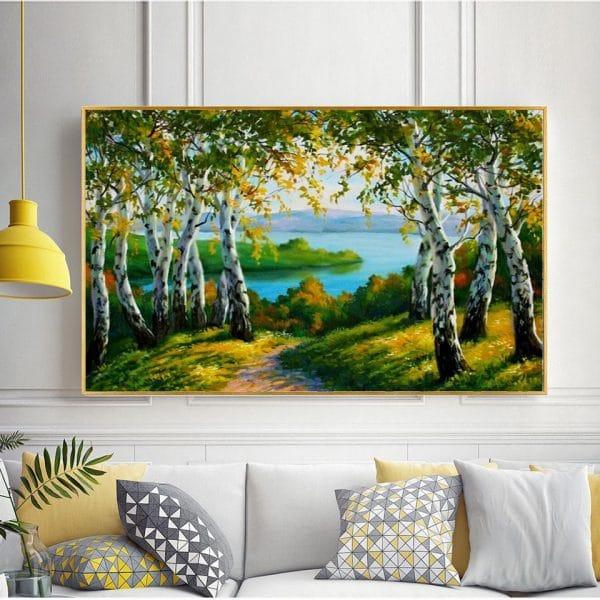 Tranh sơn dầu phong cảnh rừng cây bờ biển CV01A501