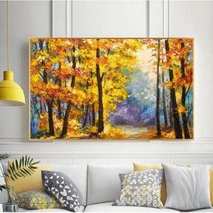 Bức tranh sơn dầu rừng cây vàng ấn tượng