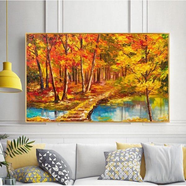 Tranh sơn dầu phong cảnh rừng cây mùa thu lá vàng