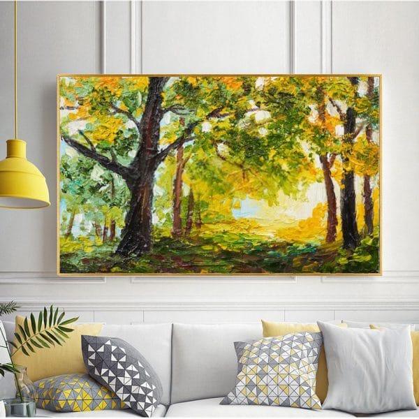 Tranh sơn dầu rừng cây mùa hè