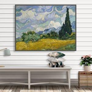 Bức tranh sơn dầu đồng lúa mỳ và cây Bách