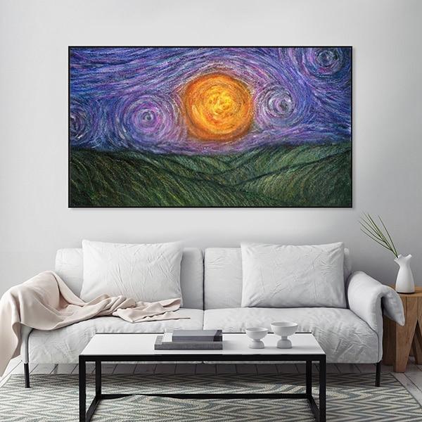 Tranh sơn dầu bầu trời đêm Van Gogh