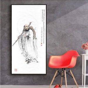 Tranh vẽ Tổ Bồ Đề Đạt Ma CV01A529