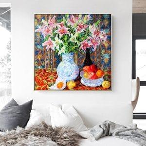 Tranh sơn dầu tĩnh vật bình hoa ly và quả táo CV01A532