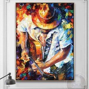 Tranh sơn dầu nghệ sĩ chơi đàn guitar CV01A549