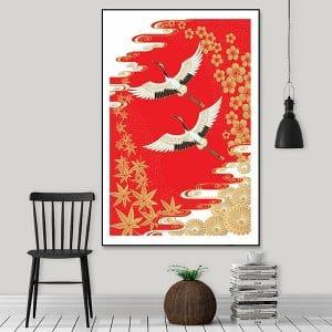 Tranh đôi chim hồng hạc tung cánh CV01A555