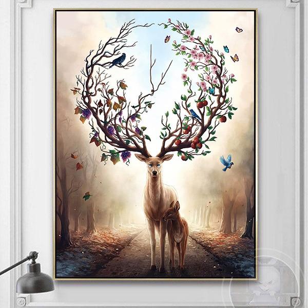 Tranh sơn dầu mẹ con nhà hươu nghệ thuật CV01A556