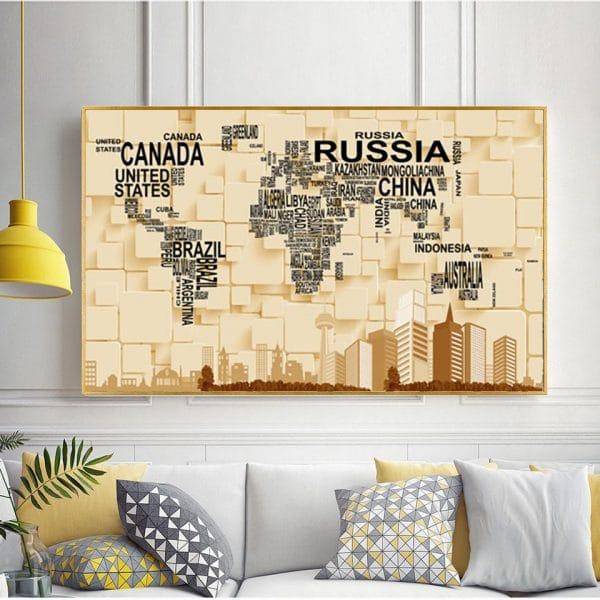 Tranh treo tường bản đồ thế giới 3D CV01A565