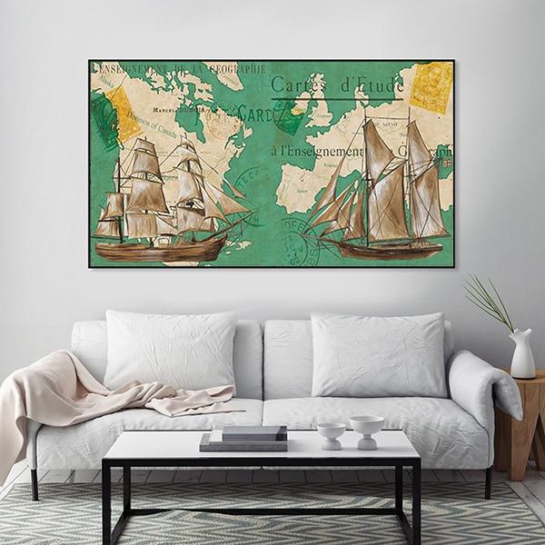 Tranh treo tường bản đồ hàng hải thế giới CV01A567