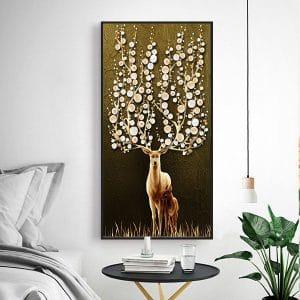 Tranh treo tường phòng khách mẹ con hươu nghệ thuật CV01A572