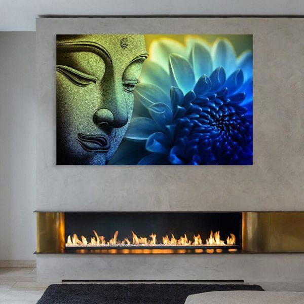 Tranh đơn mặt phật và hoa cúc xanh CV01103
