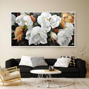 Tranh đơn hoa trắng nâu CV01105