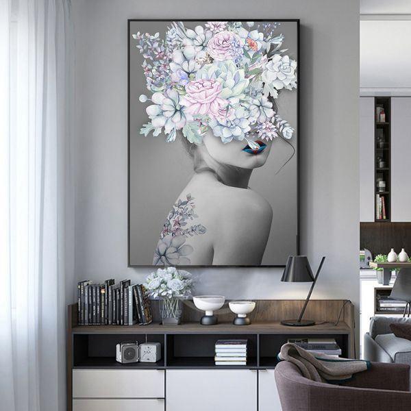 Tranh đơn cô gái và hoa lá CV01109