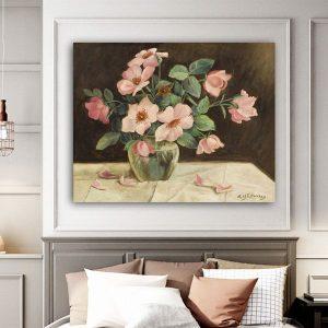 Tranh đơn vẽ bình hoa hồng CV01115