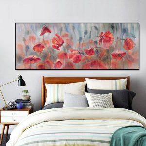 Tranh đơn vẽ sơn dầu hoa đỏ CV1117