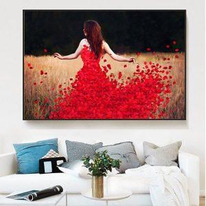 tranh đơn co gái váy đỏ CV0143