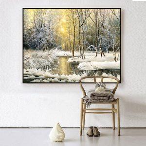 tranh sơn dầu rừng cây mùa đông CV0145