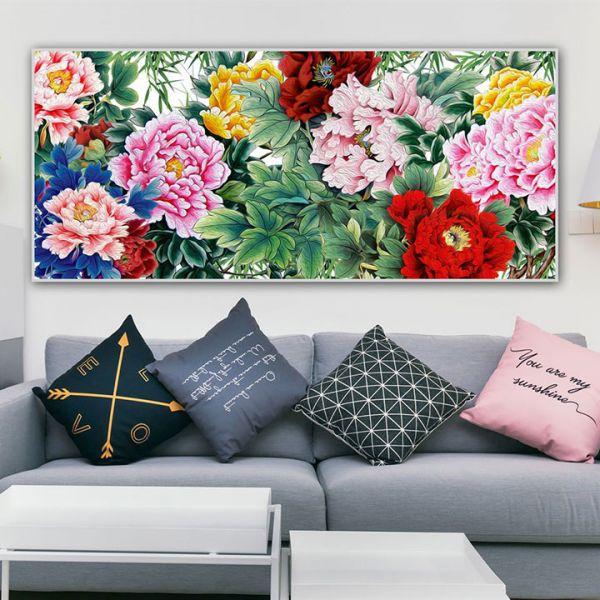 Tranh sơn dầu hoa mẫu đơn 9 bông đẹp