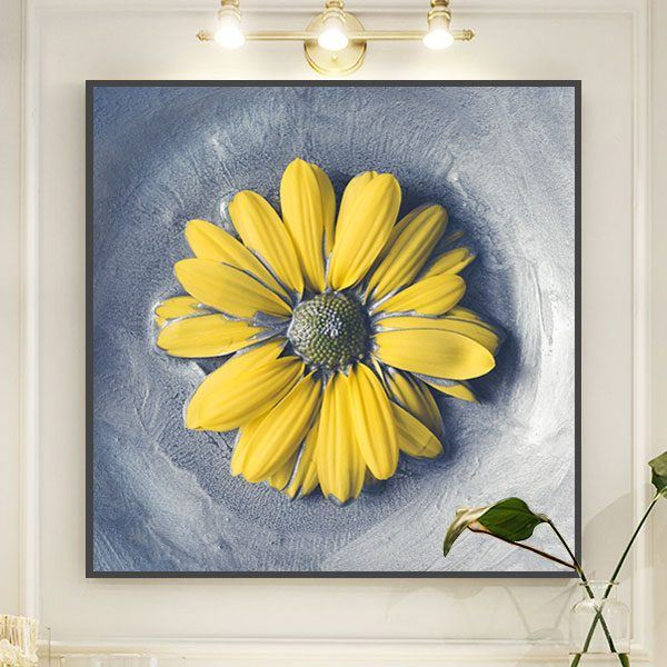 Tranh hoa cúc vàng vẽ tay CV0146