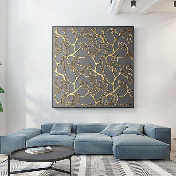 Tranh nghệ thuật lá cây vàng đen CV0148