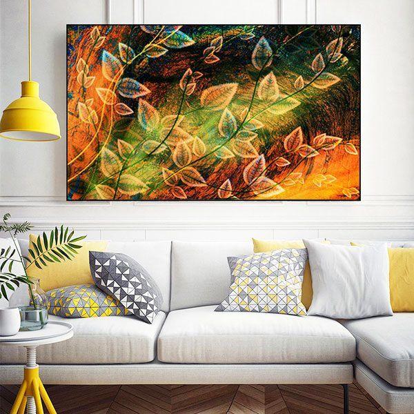 Tranh đơn nghệ thuật màu nước lá vàng CV0150
