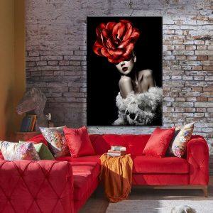 Tranh đơn cô gái và hoa hồng đỏ CV0156