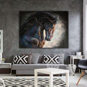 Tranh đơn vẽ ngựa đen CV0163