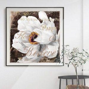 Tranh đơn vẽ hoa trắng và chữ nghệ thuật CV0164