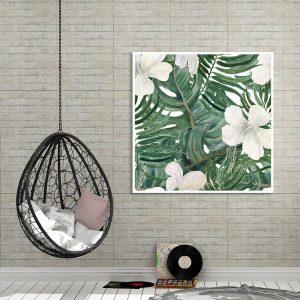 Tranh đơn hoa trắng lá xanh CV0193